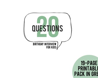 20 Questions Birthday Interview for Kids Printable Pack in GREEN