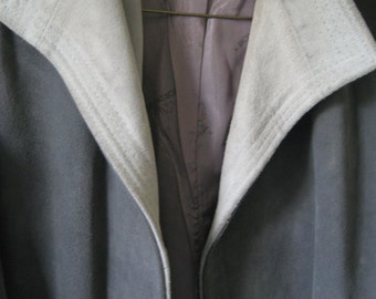Leather Jacket - Heavy Suede Buckskin - Charcoal and Gray - Ladies Medium
