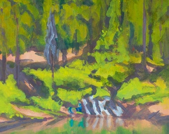 Fishing Hole Wickiup Reservoir Oregon Original Painting 18x12 inches Optional Frame Sherri McDowell Artist