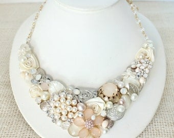 Blush Bridal Bib Necklace-Vintage-Inspired Floral Statement Necklace- Blush Necklace-Champagne Pink Bridal Bib-Ivory and Pearl Statement Bib