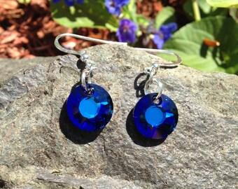 Bermuda Blue Swarovski Crystal Earrings, round earrings, bright blue earrings, sterling silver, womens earrings, dangle earrings, oceanic