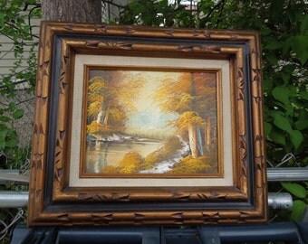 Vintage Oil on Canvas Landscape River Lake Pond Scene Oil Painting  Artist Signed Wood Frame Framed