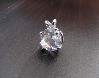 15% Off Sale. S342. Sterling Silver Basket Style Pendant with 5 Carat Natural White Topaz Gemstone