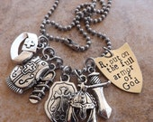 Armor Of God Charm Necklace, Hand Stamped Brass OR Copper Shield, Ephesians 6 Jewelry, Customized with Initial, Christian Scripture Jewelry