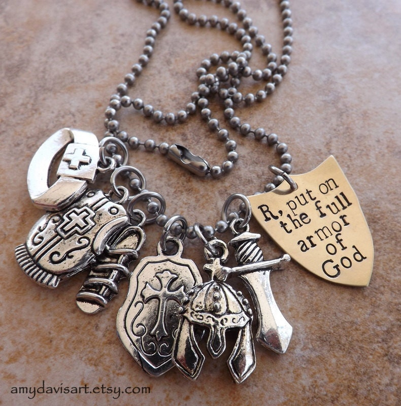 put on the armor of god necklace christian jewelry