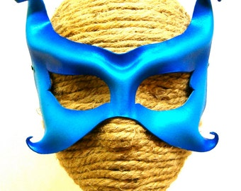 Blue Leather Mask with Curly Horns, Handcrafted Lightweight Fairy Costume Mask (M123)