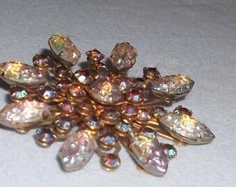 Vintage Brooch, AB Molded Art Glass and Rhinestones