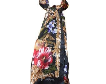 vintage OSCAR de la RENTA studio silk scarf / floral fruits / oblong / neck head scarf / vintage accessories / women's vintage scarf