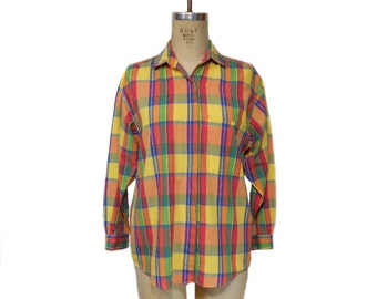 vintage 1980s DVF plaid blouse / Diane von Furstenberg / rainbow plaid checkered / 80s button up shirt / women's vintage blouse / size small