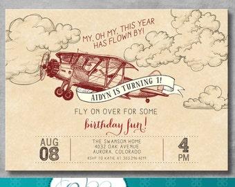 Vintage Airplane Invitation | First Birthday 1st | Retro | Old | Birthday Party Invite |  Red | Boy | Customizable | DIY Printable | Digital