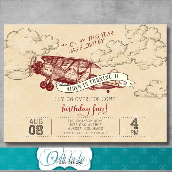 Vintage Airplane Party Printables Airplane Birthday Airplane: Vintage Airplane Invitation First Birthday 1st Retro Old