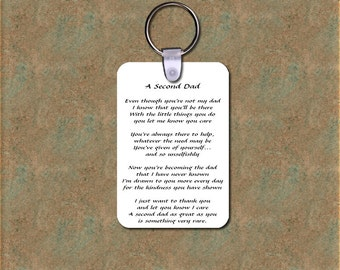 Inspirational Poem / Photo Key Chain - A Second Dad