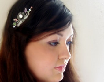 crystal headpiece, hair comb, butterfly friendship, multicolor garland,  romantic love, rhinestone bride headpiece, garden beach wedding