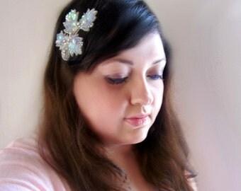 wedding crystal hairpiece, bridal leaf hairclip, bead pearl sequin veil alternative, petal maple small clip, bohemian bride, fall style