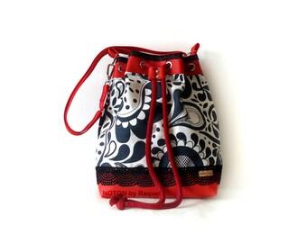 Red and Black Bucket Bag, Bucket Bag Purse, Vegan Bag