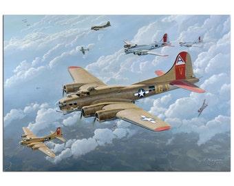 Metal Giclée WWII B17 Bomber Painting World War 2 Aircraft Pilot Artwork Fighter Plane Art Aviation Decor Flying Fortress