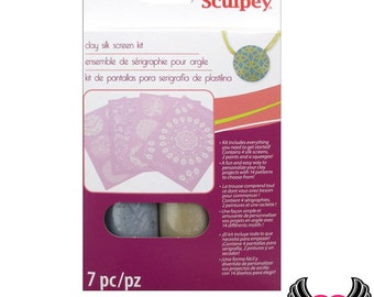 SCULPEY SILKSCREEN KIT Metallic / Silk Screen Polymer Clay includes 4 screens with 14 patterns