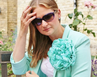 Oversized flower, silk peony brooch, oversized corsage, oversized brooch, large silk peony flower, wedding flowers, couture silk flowers