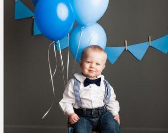 Navy Blue Chevron Suspenders and Navy Bowtie baby toddler boys suspenders - baby bowtie - nautical wedding - smash cake - photography prop