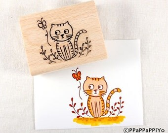 PPaPPaPPiYo Cat and butterfly Rubber Stamp