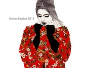 Fashion Illustration Print - Pencil & Origami Paper