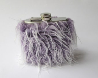 Funny Hip Flask for Women, Soft Grunge Flasks, 21st Birthday Gift Idea for Her, Purple Flask, Flasks for Her, Fuzzy Flask INCLUDING FLASK
