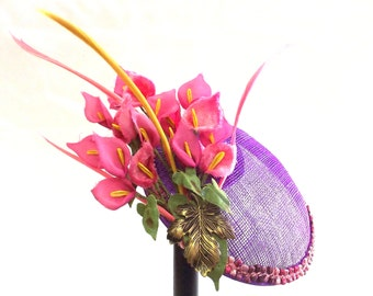 Pink Flower Fascinator, Kentucky Derby Hat, Tea Party Fascinator, Vintage Inspired Hat