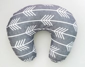 Boppy Cover Charcoal Arrows. Boppy. Nursing Pillow. Boppy Pillow Cover. Boppy Slipcover. Minky Boppy Cover. Gray Arrows Boppy Cover.