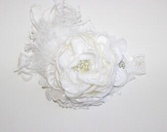 Baby headband- White Flower Girl Headband-Baby Girl Headband-Ivory Flower Headband-Baptism Headband-Baby Headband