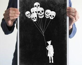 Original digital print girl skull balloon black white creepy horror blood goth art vintage poster
