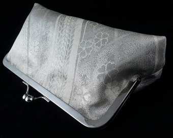 silver silk obi fabric clutch purse evening bag with metal kiss lock closure - silver cherry blossoms and waves