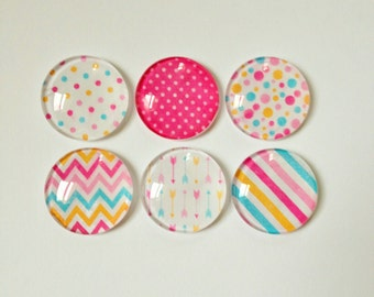 Set of 6 // Glass Magnets // Fridge Magnets // Refrigerator Magnets // Decorative Magnets // Office Decor // Kitchen Decor // Teacher Gifts