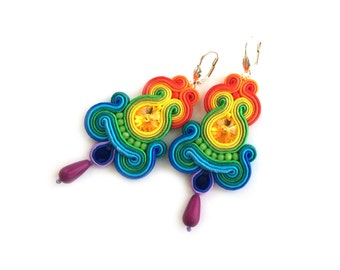 Long statement earrings - Rainbow earrings - mothers day gift for wife - Soutache earrings - Gift for sister - Gift for girlfriend rainbow