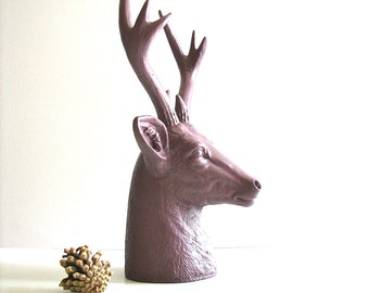 MAUVE Faux Stag Deer Head Bust animal statue in mauve for tabletop home decor nursery decor gift for him her office decor deer head woodland