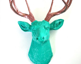 TEAL Faux Taxidermy Deer Head wall mount wall hanging in teal with light bronze antlers: nursery decor office woodland chic fake deer head