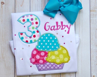 Ice Cream Birthday Shirt- Girl Ice Cream Shirt- Summer Birthday Shirt- Banana Split shirt- Monogram- Custom- Girl Birthday Shirt- Custom