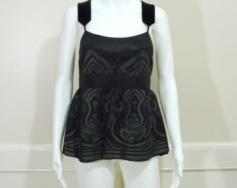 MAGASCHONI Black Silk Top Size 6