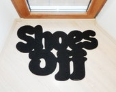 Shoes Off. Custom doormat. Home decor. Elegant floor mat.