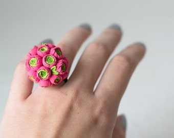 SALE Neon pink ring - neon jewelry - neon pink - neon wedding - neon ring - neon flowers - neon jewellery - flower ring - blossom ring