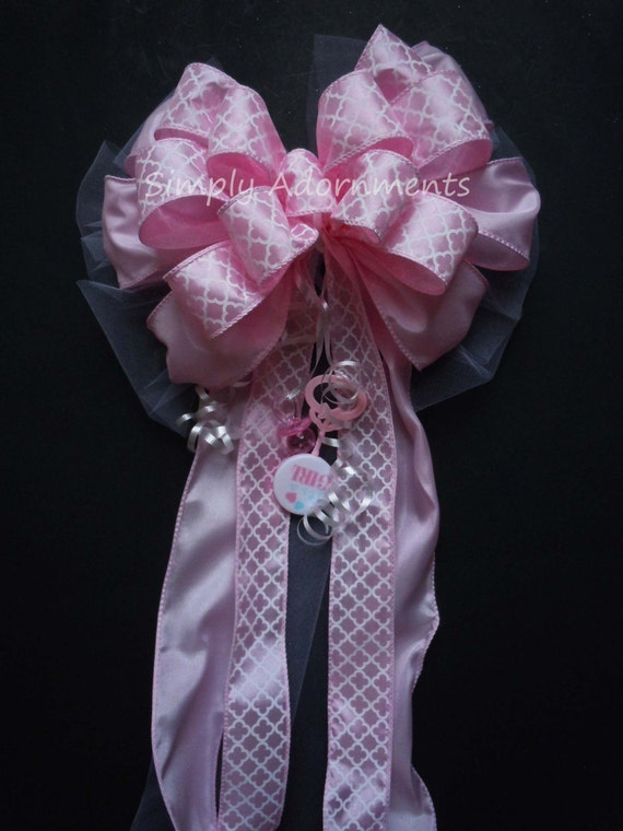It's a Girl Pink Bow Girl Baby Shower Decoration Pink Gift Basket Bow Newborn Baby Girl Party Decoration Pink Baby Shower Gift Bow