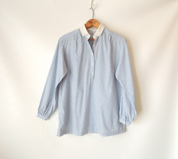 70s 80s blue pinstripe blouse light blue by for Light blue pinstripe shirt