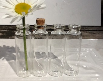 10 Glass Vials 55X16 Glass Vial Necklace Vial Pendant Corks Screw Bails And Rings If U Want Tall Vials