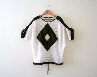 Vintage 90s Black and White Mesh Geometric Cover Up Shirt