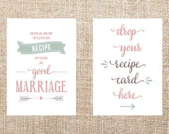 Printable Recipe Card Signs for Bridal Shower