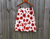 S M Small Medium Vintage 90s Elementz label Red Poppies Floral Print Romantic Grunge Indie Alternative High Waist Skirt