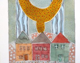 """Wall Art ,  """"Living Near The Gulf Stream """" , Abstract Art , Watercolor Original, Art, Home Decor"""