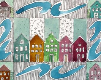 """Spring Decor ,Teal Green Art ,  """" Row Houses"""" ,  Watercolor Original, Art, Home Decor"""