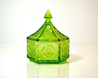 Green Depression Glass Candy Dish with Lid - Vintage Glass Dish 1960's - Indiana Glass with Pressed Colonial Eagle and Star