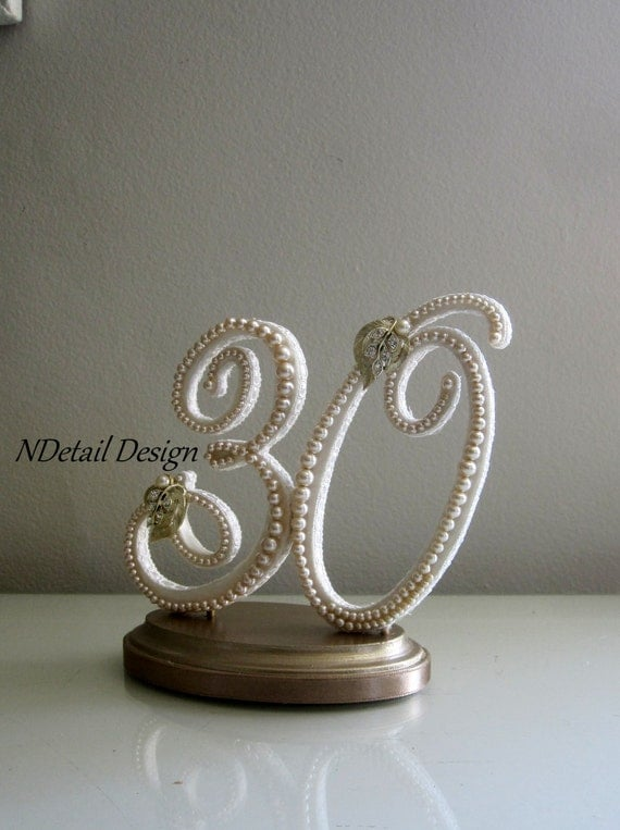 Pearl Wedding Cake Topper