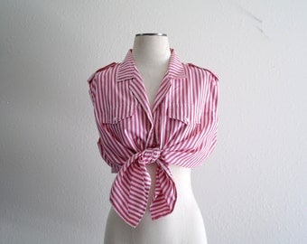 Vintage Womens Collared Tank Top - Chambray Tank Top - Epaulet Tank Top - Crop Top - Tie Up - Pink Stripe - Oxford - Oversized - 22